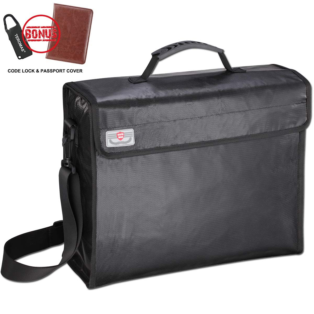 Fireproof Document Bag with Lock Zipper and Velcro Closure 12 x 15